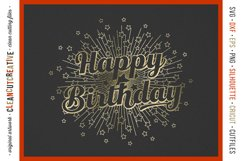 Foil Quill HAPPY BIRTHDAY single line sketch design SVG Product Image 2