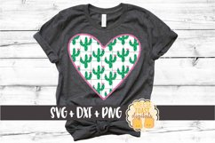 Cactus Heart - Flower Plant Design - SVG PNG DXF Cut Files Product Image 1