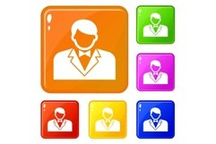 Croupier icons set vector color Product Image 1