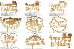 24 Birthday Cake Topper SVG Bundle | cake topper template Product Image 3
