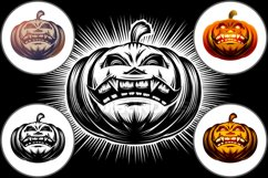 Vector Halloween Pumpkin Carved Eyes Mouth Icon Set Product Image 1