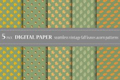 Bundle vector seamless botanical patterns fall leaves acorn Product Image 1