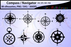Compass Silhouette / compass svg files / compass vector Product Image 1