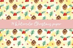 Watercolor Christmas digital paper, seamless pattern Product Image 3