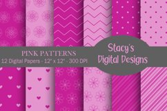 Pink Patterns - 12 Digital Papers Product Image 1