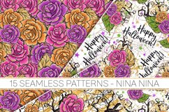 Halloween Flowers Seamless Patterns, Roses Digital Papers Product Image 5