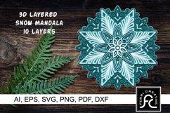 3D Layered Snow Mandala - SVG - Vol 3 Product Image 1