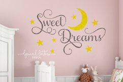 Sweet Dreams with Moon and Stars SVG Cut File LL021D Product Image 2