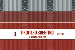 Set of profiled sheeting and brick wall seamless patterns. Product Image 1