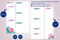 Undated weekly planner's sheets with watercolor flower A5 Product Image 2