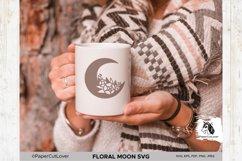 Floral Moon SVG Crescent Moon SVG Half Moon Paper Cut Boho Product Image 3