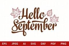 Hello September Lettering Phrase Text Graphic Product Image 1