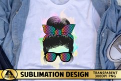 Mom Life PNG Sublimation Messy Bun with Glasses Mothers Day Product Image 1