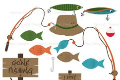 Fishing Digital Papers and clipart SET Product Image 2