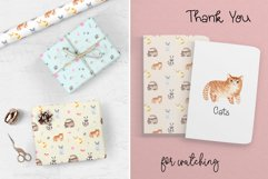 Watercolor Cute Cats. Patterns and Cliparts Product Image 6