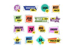 Sale promo badges. Guarantee labels. Promo sticker exclusive Product Image 1