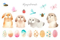 Spring Watercolor Easter Bunnies. Patterns and cliparts Product Image 2