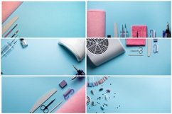 Top view of manicure equipment on blue background Product Image 1