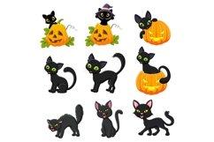 Set of thirteen Cartoon Black Cats Product Image 1