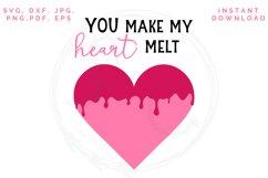 Heart Melt SVG, Valentine's cut file, Love svg Product Image 4