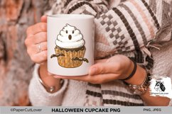 Halloween Cupcake With White Cream Ghost PNG Sublimation Product Image 3
