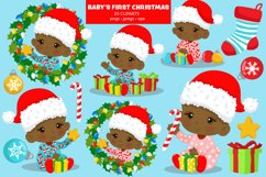 BABY'S FIRST CHRISTMAS CLIPART - AFRICAN AMERICAN BABY Product Image 1