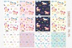 Watercolor Unicorn Set. Seamless Patterns, Clipart Product Image 6