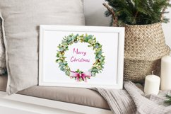 Christmas wreath, watercolor illustration, eucalyptus, roses Product Image 4