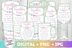 Tumbler Mug Wine Glass Care Cards 7 PACK! Hearts! PNG - JPG Product Image 1