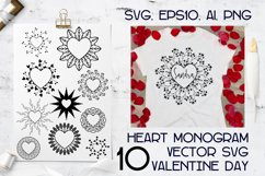 Monograms Vector Hearts Frame bundle SVG, cutting files. Product Image 1