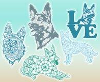 German Shepherd Dog Mandala Zentangle Svg Dxf Eps Png Pdf Product Image 2