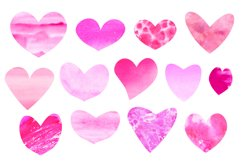 Pink purple watercolor hearts clipart Valentines day Product Image 3