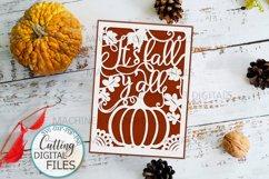 Fall Thanksgiving card papercut svg laser cut cricut file Product Image 1