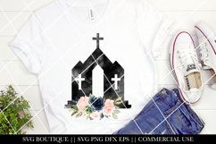 Easter Sublimation Designs - Floral Watercolor Church - PNG Product Image 1