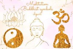 Yoga clipart Gold Buddha Lotus Om symbol Yin Yang Meditation Product Image 1