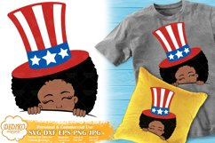 4th of July Black Girl SVG   Afro Girl Peek a Boo   USA SVG Product Image 1