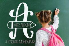 Teacher Pencil Monogram Split Font Product Image 1