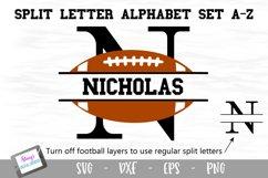 Split Letters A-Z - 26 Split Monogram Football SVG alphabet Product Image 1