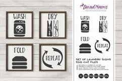 Set of 4 Laundry Signs SVG | Wash, Dry, Fold, Repeat Product Image 1