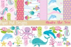 Girls Sea Animal Clipart and Digital Papers Set Product Image 1