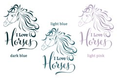 Horse Sublimation   Love Horses   Horse Head Silhouette Product Image 2