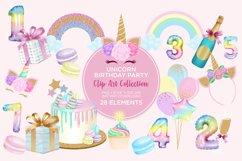 Unicorn Birthday Party Clip Art Product Image 1
