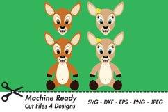 Cute Deer SVG Cut Files, PNG deer clipart, happy baby deer Product Image 1