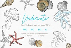 Underwater - Hand drawn vector clipart collection Product Image 1