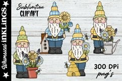 Forest Gnomes Love Bees-Sublimation Clipart Product Image 1