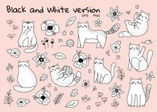 Funny Cats and Flowers clipart set Product Image 3