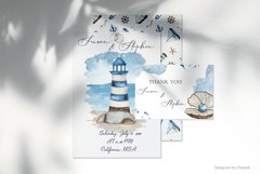 Nautical wedding map creator Watercolor clipart Product Image 5