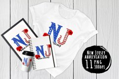 State abbreviation. USA sublimation. New Jersey Product Image 1