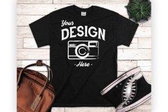 Black Tshirt Mockup Styled Flatlay Unisex T Shirt Display Product Image 1