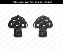 Mushroom earrings svg,Abstract earrings,Jewelry svg,Cricut Product Image 1